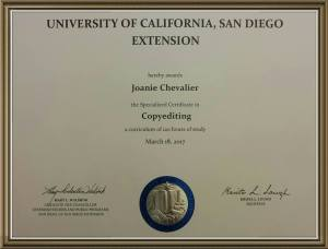 Copyediting Certificate